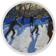 Ice Skaters At Christmas Fayre In Hyde Park  London Round Beach Towel by Andrew Macara