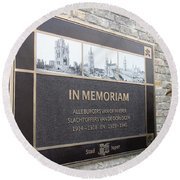Round Beach Towel featuring the photograph In Memoriam - Ypres by Travel Pics