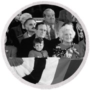 Inauguration Of George Bush Sr Round Beach Towel by H. Armstrong Roberts/ClassicStock