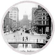 Round Beach Towel featuring the photograph Indianapolis, Indiana, Downtown Area, C. 1900, Vintage Photograp by A Gurmankin