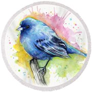Indigo Bunting Blue Bird Watercolor Round Beach Towel by Olga Shvartsur