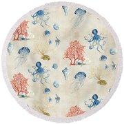 Indigo Ocean - Red Coral Octopus Half Drop Pattern Round Beach Towel by Audrey Jeanne Roberts