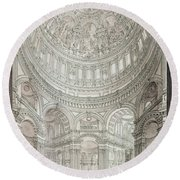 Interior Of Saint Pauls Cathedral Round Beach Towel by John Coney