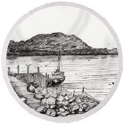 Iona From Mull Round Beach Towel by Vincent Alexander Booth