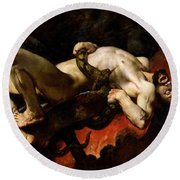 Ixion Thrown Into Hades Round Beach Towel by Jules Elie Delaunay