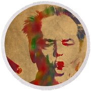Jack Nicholson Smoking A Cigar Blowing Smoke Ring Watercolor Portrait On Old Canvas Round Beach Towel by Design Turnpike
