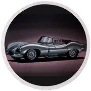 Jaguar Xkss 1957 Painting Round Beach Towel by Paul Meijering