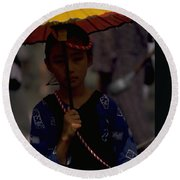 Round Beach Towel featuring the photograph Japanese Girl by Travel Pics