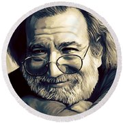 Jerry Garcia Artwork  Round Beach Towel by Sheraz A