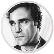 Joaquin Pheonix Round Beach Towel by Greg Joens