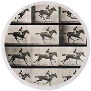 Jockey On A Galloping Horse Round Beach Towel by Eadweard Muybridge