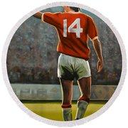 Johan Cruyff Oranje Nr 14 Round Beach Towel by Paul Meijering