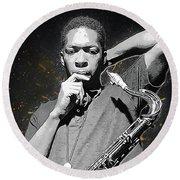 John Coltrane Round Beach Towel by Semih Yurdabak