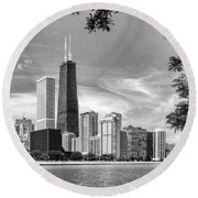 John Hancock Chicago Skyline Panorama Black And White Round Beach Towel by Christopher Arndt