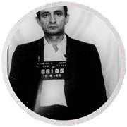 Johnny Cash Mug Shot Vertical Round Beach Towel by Tony Rubino