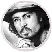 Johnny Depp Round Beach Towel by Greg Joens