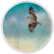 Joyful Morning Flight - Osprey Round Beach Towel by Jai Johnson
