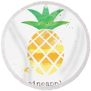 Juicy Pineapple Round Beach Towel by Linda Woods