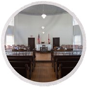 Jury Box In A Courthouse, Old Round Beach Towel by Panoramic Images