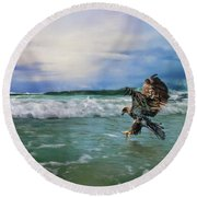 Juvenile Eagle At Sea Wildlife Art Round Beach Towel by Jai Johnson