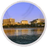 Kennedy Center And Watergate Hotel Round Beach Towel by Panoramic Images
