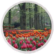 Keukenhof Garden, Lisse, The Netherlands Round Beach Towel by Panoramic Images