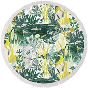 Kingfisher Round Beach Towel by Jacqueline Colley