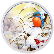 Kingfisher Plate Round Beach Towel by John Francis