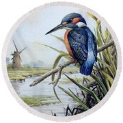 Kingfisher With Flag Iris And Windmill Round Beach Towel by Carl Donner