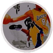 Kobe Bryant Taking Flight 3a Round Beach Towel by Brian Reaves