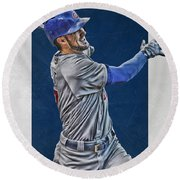 Kris Bryant Chicago Cubs Art 3 Round Beach Towel by Joe Hamilton