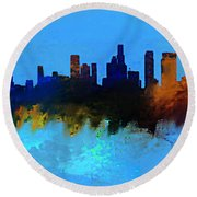 Los Angeles Blue And Gold Skyline Round Beach Towel by Enki Art