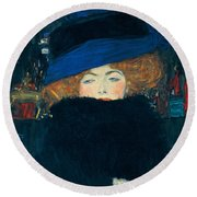 Lady With A Hat And A Feather Boa Round Beach Towel by Gustav Klimt