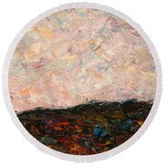 Land And Sky Round Beach Towel by James W Johnson