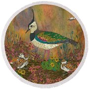 Lapwing Revival Round Beach Towel by Lotti Brown