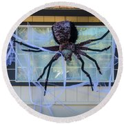 Large Scary Spider  Round Beach Towel by Garry Gay
