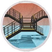 Large Stair 38 On Cyan And Strange Red Background Abstract Arhitecture Round Beach Towel by Pablo Franchi