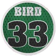 Larry Bird Boston Celtics Retro Vintage Jersey Closeup Graphic Design Round Beach Towel by Design Turnpike