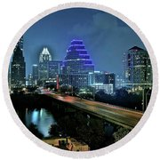 Late Night Above Austin Round Beach Towel by Frozen in Time Fine Art Photography