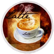 Latte Round Beach Towel by Lourry Legarde