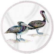 Laurel And Hardy, Brown Pelicans Round Beach Towel by Amy Kirkpatrick