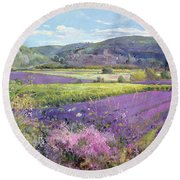Lavender Fields In Old Provence Round Beach Towel by Timothy Easton