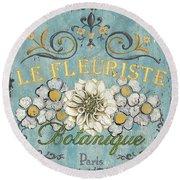 Le Fleuriste De Botanique Round Beach Towel by Debbie DeWitt