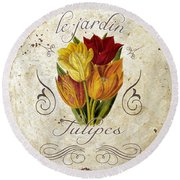 Le Jardin Tulipes Round Beach Towel by Mindy Sommers