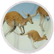 Leaping Ahead Round Beach Towel by Pat Scott