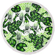 Leaping Frogs Round Beach Towel by Nat Morley