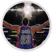 Lebron James Chalk Toss Basketball Art Landscape Painting Round Beach Towel by Andres Ramos