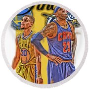 Lebron James Stephen Curry The Finals Round Beach Towel by Joe Hamilton