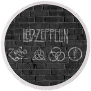 Led Zeppelin Brick Wall Round Beach Towel by Dan Sproul