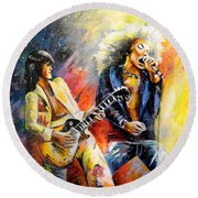 Led Zeppelin Passion Round Beach Towel by Miki De Goodaboom